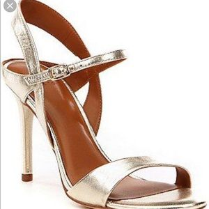 Halston golden sandal heels Adjustable ankle strap